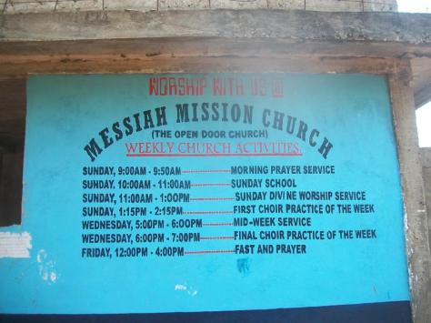 The bulletin board of the weekly church activities